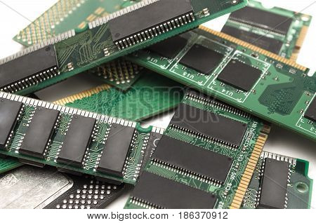 Computer memory modules and processor chip isolated.