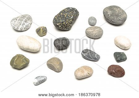 Pebbles isolated isolated on white background, sea pebbles.