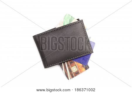 Wallet isolated on white background, card holder.