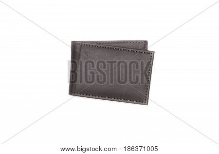 Wallet isolated on white background. Business card holder flat lay top view.