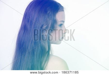 Long hair girl portrait shoot on white background