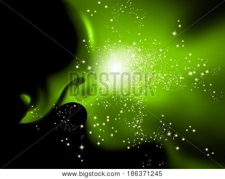 Green sparkle background with glitter lights
