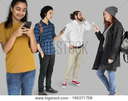 Various of diversity people standing using mobile phone on background