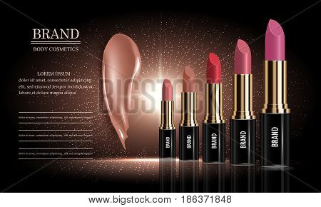 Cosmetics ad set of female lipstick cream packaging different various of colors and liquid smear for makeup template for a posters banners logos realistic mockup vector illustration.