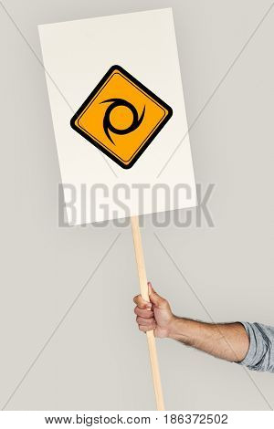 Studio Shoot Holding Banner with Sawblade Attention Sign