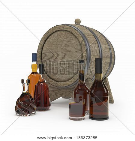Collection Of Whiskey Bottles Isolated 3D Rendering