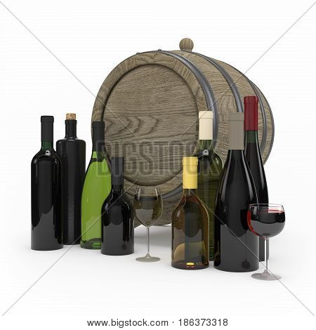 Collection Of Wine Bottles Isolated 3D Rendering