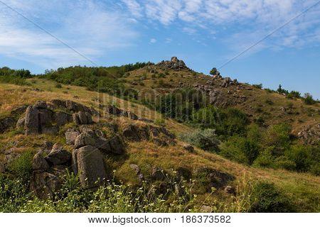 Mountain Landscape With Beautiful Sky In Dobrogea Romania