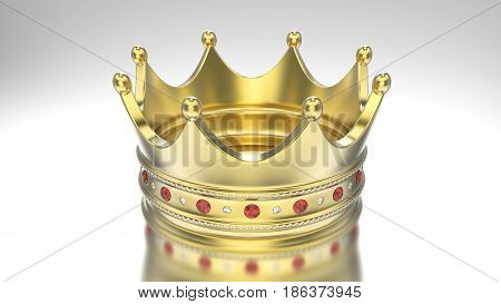 3D illustration gold crown tiara with diamonds on a grey background