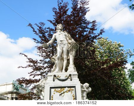 Statue of Wolfgang Amadeus Mozart in Burggarten, Vienna, Austria