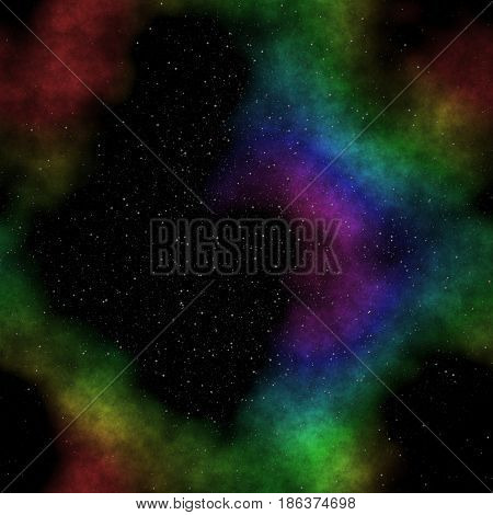 Amazing illustraton of space with stars and colorful circular nebula in bright colors of blue green and red