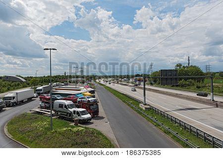 MOTORWAY 66, GERMANY-MAY 14, 2017: Truck parking lot at Motorway 66 in the west of Frankfurt, Germany
