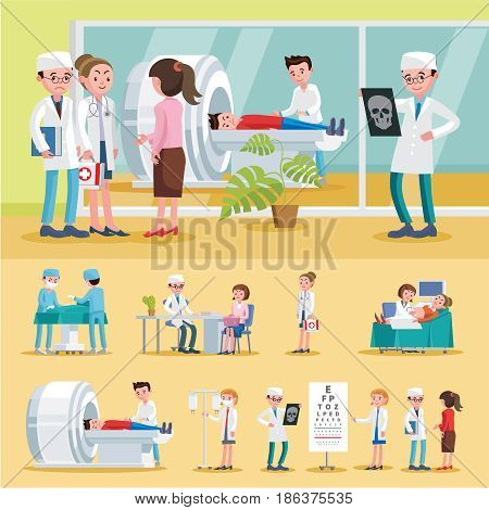 Medical care composition with surgery female doctor abdominal ultrasound and MRI procedures nurse ophthalmologist consultation vector illustration