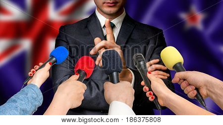 New Zealand Candidate Speaks To Reporters - Journalism Concept