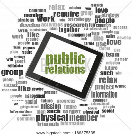 Text Public Relations. Social Concept . Tablet Pc. Word Cloud Collage