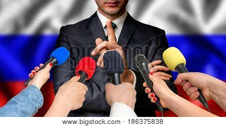 Russian Candidate Speaks To Reporters - Journalism Concept