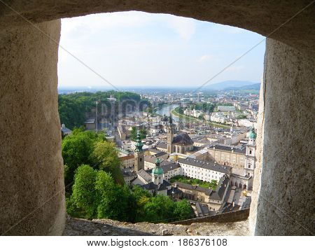 Impressive cityscape view from the rampart of Hohensalzburg of Salzburg , Austria