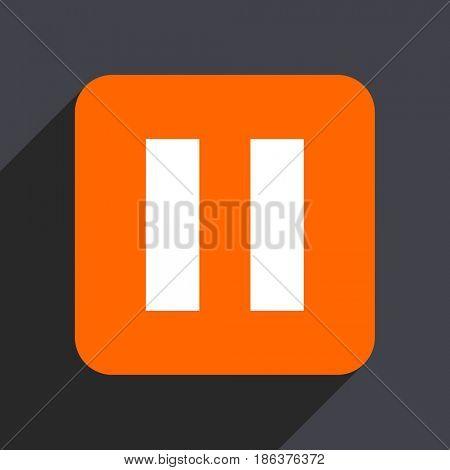 Pause orange flat design web icon isolated on gray background
