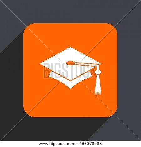 Education orange flat design web icon isolated on gray background