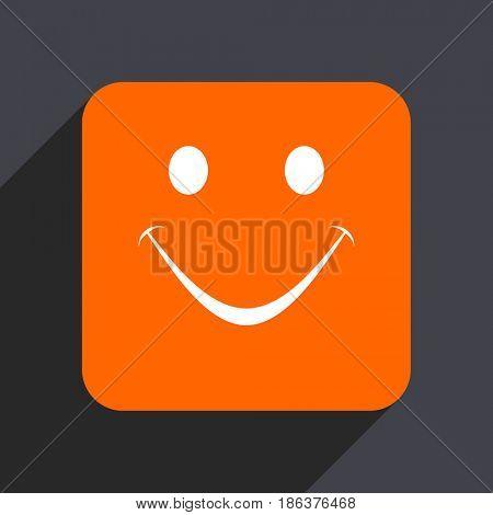 Smile orange flat design web icon isolated on gray background
