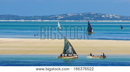 Beautiful scenery with local boats in Mozambique