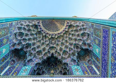 View on Ornaments of mosque in Iran