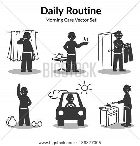 Morning daily routine collection witn man brush teeth drinking coffee holding trousers doing exercises driving to work cooking isolated vector illustration