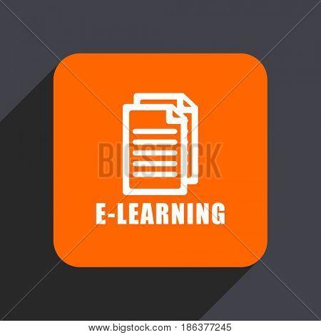 Learning orange flat design web icon isolated on gray background