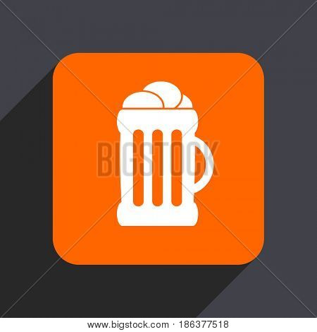 Beer orange flat design web icon isolated on gray background