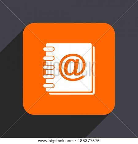 Address book orange flat design web icon isolated on gray background