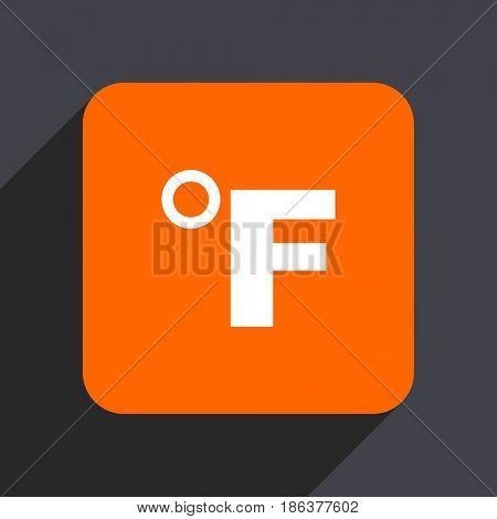 Fahrenheit orange flat design web icon isolated on gray background