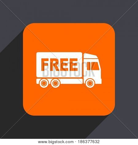 Free delivery orange flat design web icon isolated on gray background