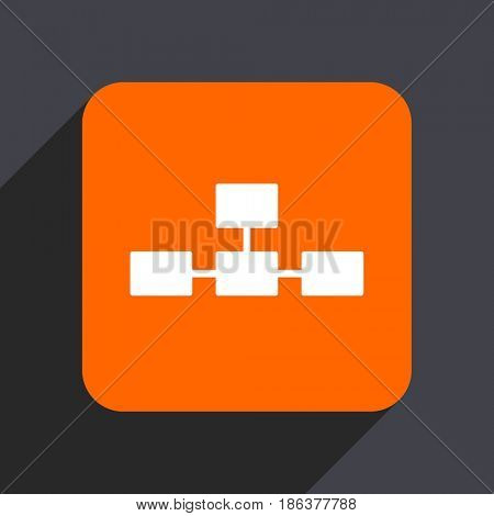 Database orange flat design web icon isolated on gray background