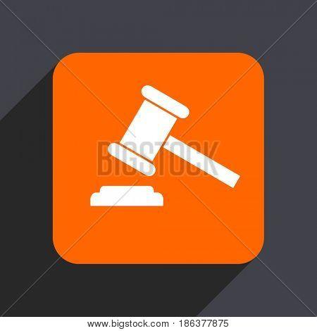 Auction orange flat design web icon isolated on gray background