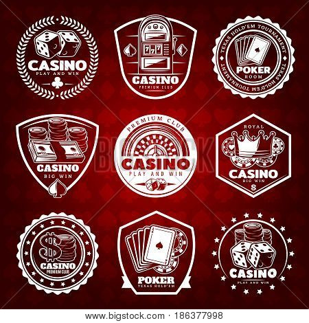 White vintage gambling labels set with casino and poker elements on red card suits background isolated vector illustration