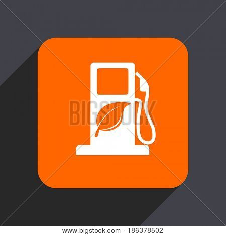 Biofuel orange flat design web icon isolated on gray background