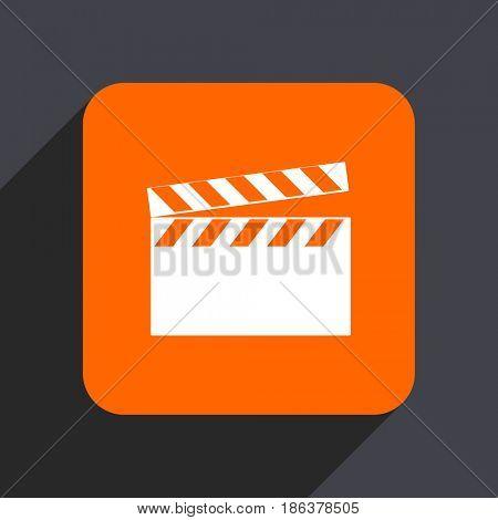 Video orange flat design web icon isolated on gray background