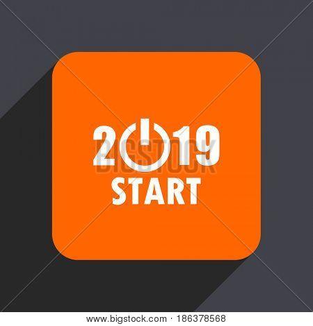 New year 2019 orange flat design web icon isolated on gray background