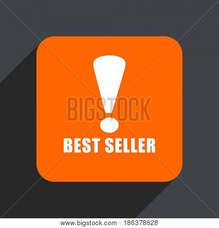 Best seller orange flat design web icon isolated on gray background