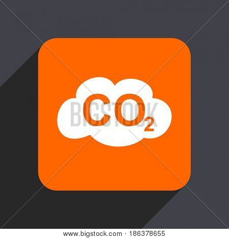 Carbon dioxide orange flat design web icon isolated on gray background