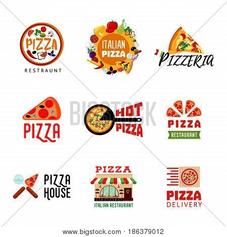 Light italian food restaurant logotypes set with letterings pizza ingredients house and cutlery isolated vector illustration