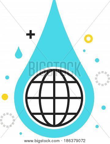 Color Box Icon, Hydro Energy Illustration, Icon