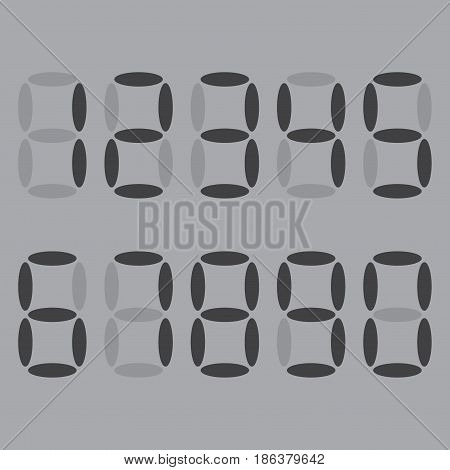 Electronic gray numbers. The numbers are 1, 2, 3, 4, 5, 6, 7, 8, 9, 0. Clock face. LED digital number. Mathematics and geometry. Vector illustration. Gray background