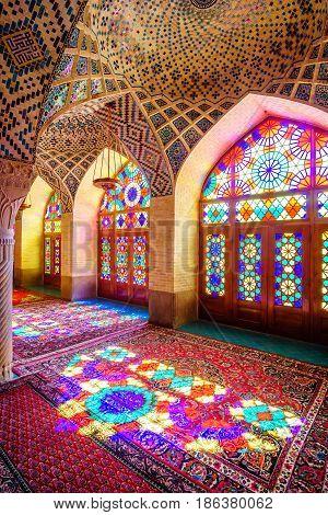Colorful Nasir al-Mulk Mosque in Shiraz, Iran