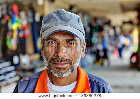 Bandar Abbas Hormozgan Province Iran - 16 april 2017: One unknown adult male Persian Muslim street portrait close-up only for editorial use.