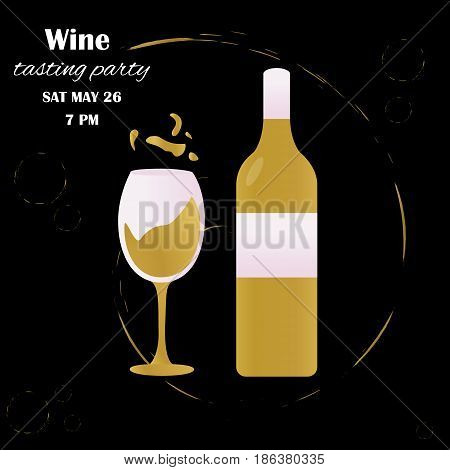 Template design with glass and bottle suitable for wine tasting invitation or party