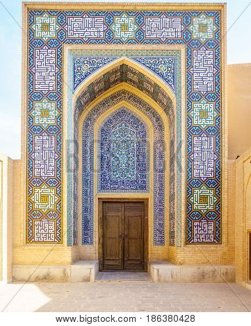View on Mosaics of Entrance of Jame Mosque of Yazd in Iran