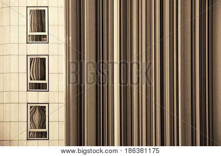 PARIS, FRANCE - MAY 13: Windows and sculpture in la Defense business district on May 13, 2015 in Paris. With the population of 2M, Paris is the capital and most-populous city of France.