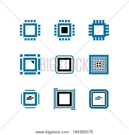 CPU and computer chips vector icons. Processor logo