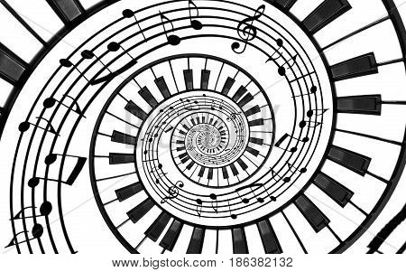 Piano keyboard printed music abstract fractal spiral pattern background. Black and white piano keys round spiral. Spiral stair. Piano helical pattern abstract background. Abstract isolated piano